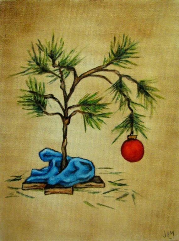 Charlie Brown Style Christmas Tree original oil painting