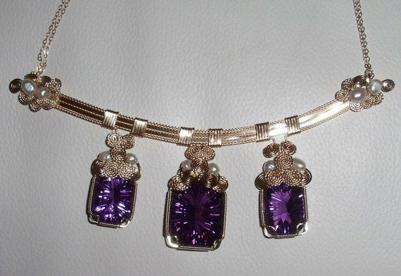 CLEARANCE, 81 cts 3 Natural Cushion Concave cut Purple Amethyst gemstones, 14kt gold Necklace