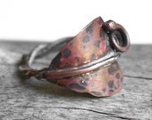 Autumn Leaf Ring , Mixed Metal , Copper Brass Sterling Silver , Rustic Ring  ,  Leaves - Autumn Bliss