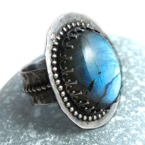 Large Labradorite Ring Sterling Silver Rustic Metalwork  -  Spectacle