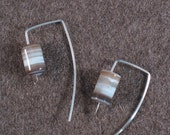 Modern Sterling Silver Striped Agate Bead with inverted /L/ shape Profile Earrings (Contradictions)