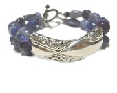 RESERVED FOR BONNIE:  Vintage Silver Purple Chunky Victorian Bohemian Bracelet, Vintage Focal Upcycled Bracelet
