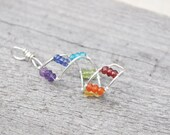 Family Birthstone Double Helix DNA Pendant Sterling Silver