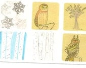 Owls, Birch Trees, Snowflakes - stickers