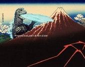GODZILLA POSTER Hokusai Mt. Fuji Rainstorm Lightning Parody MST3K