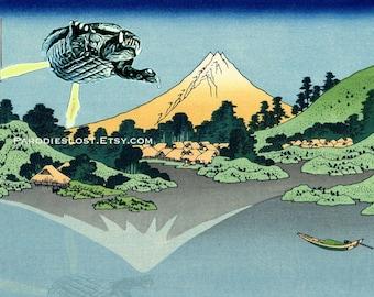 GAMERA Godzilla Print Hokusai Mt. Fuji Lake Kawaguchi Japan Parody MST3K