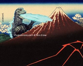 GODZILLA POSTER Hokusai Mt. Fuji Rainstorm Lightning Japan Parody MST3K