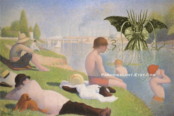 CTHULHU Georges Seurat The Bathers at Asnières Parody Print H.P. Lovecraft