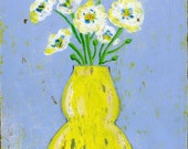 Yellow and White Flowers in Yellow Vase