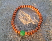 Green Jade Wood Mala Bracelet