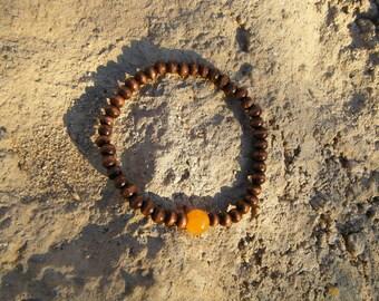 Orange Jade Wood Mala Bracelet