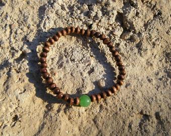Green Jade Wood Mala Bracelet