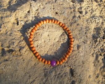 Purple Jade Wood Mala Bracelet