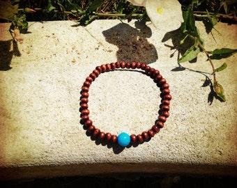 Blue Jade Wood Mala Bracelet
