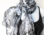 Black, White and Gray Silk Chiffon Scarf...Tissu...Extra Large Scarf .Japanese traditional Flowers...