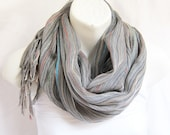 Stripes  Cotton Scarf in Pastel Gray..Fringe shawl scarf woman-man-unisex- Rustic SCARVES
