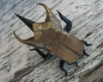 origami atlas beetle pin