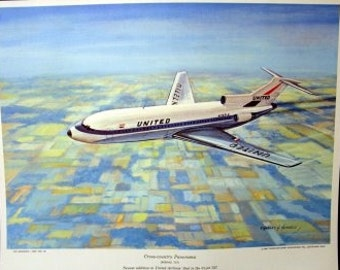 1960 United Airlines UA Boeing Tri Jet 727 Vintage Air