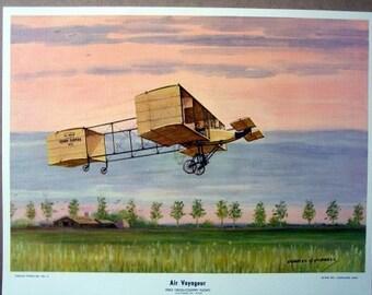 1908 First Cross County Flight Voisin Biplane Henri Farman 35 mph