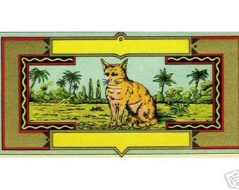 1900s Antique Wild Cat Feline Palm Early Textile Dye Bottle Label