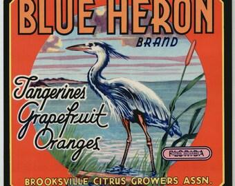 1940s Vintage Blue Heron Water Fowl Brooksville Florida Citrus Label FLA
