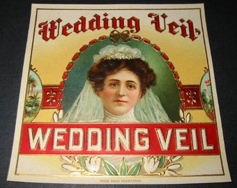 1900s Antique Wedding Veil Victorian Bride Gift Embossed Collectible Label