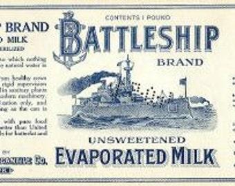 1940s WWII World War II Navy Battleship Vintage Evap Milk Can Label