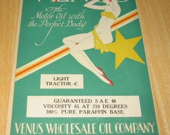 1929 Venus Pinup Gal Gams Legs  Oil Can Label Geneva Nebraska Ad Art