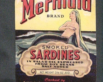 1940s 50s Vintage Mermaid Fish Lady of Sea Can Labels Seattle Maine Labels
