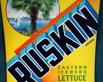 1940 Scarce Ruskin Palm Tree Florida FLA Lettuce Label