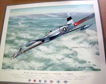 1950 Korea 1st Jet Air Combat Lt Russell Brown F-80 Shooting Star vs MIG