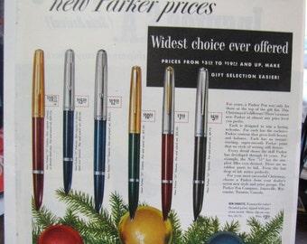 1952 Parker Pens Pen Collector SEP Full Color Ad Original