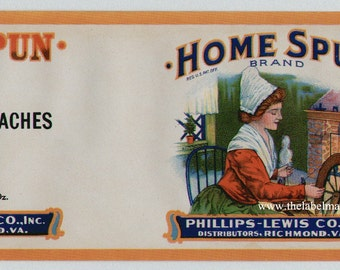 1920s Woman at Spinning Wheel Antique Peaches Can Label Richmond VA