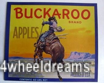 1940s Buckaroo Bucking Horse Cowboy Western Cowpoke Crate Label