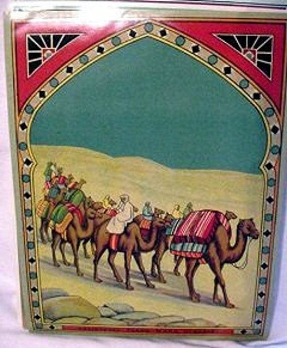 1900s Antique Camel Train Cames Desert Fabric Textile Label