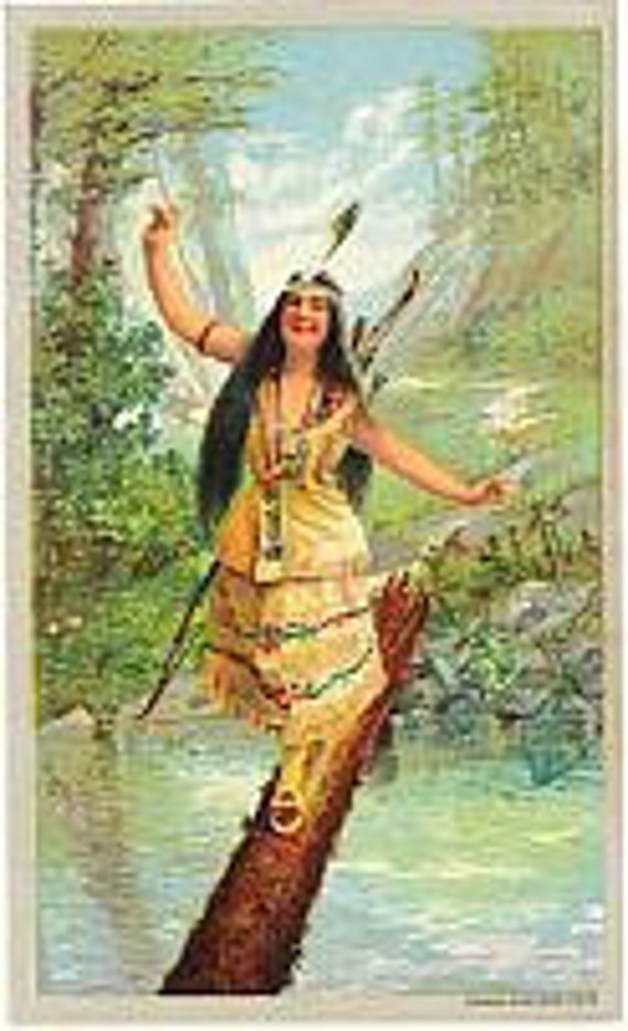 1905 Indian Maid Native American Laughing Water Lithograph Print