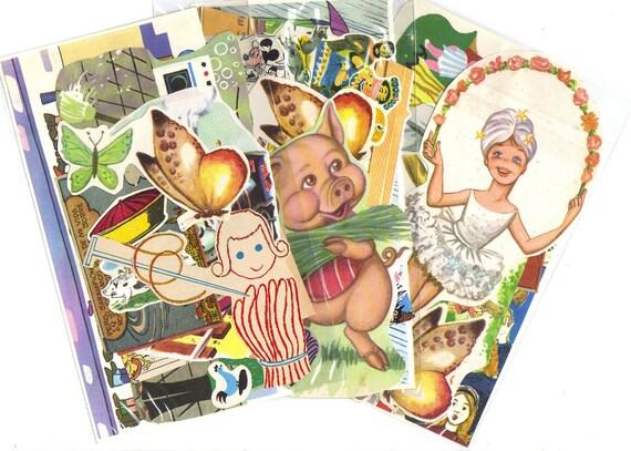 Vintage SCRAP PACK Children's story - Mixed bag 10 pieces