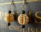 Upcycled Paper Poetry Hook Earrings