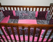 Trendy Zebra Pink & Black baby Crib Bedding Set with Minky Dots and FREE Monograms
