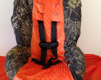CAMO & ORANGE MINKY Ready To Ship fabric Toddler and Infant Convertible car Seat Cover fits Cosco Scenera and very similair