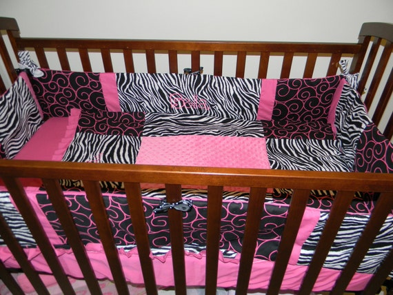 items similar to trendy zebra pink black baby crib bedding set with minky dots and free
