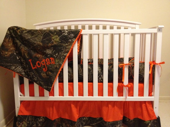 Camo 4 piece set made with Mossy Oak fabric and Orange minky dot baby Crib Bedding Set with and FREE Monograms