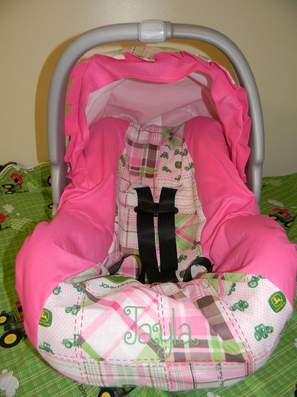 Pink John Deere Girl Infant Car Seat Cover By