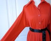 1970's Lori Ann red polyester dress