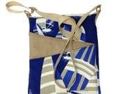 SALE Sail Boat cross body bag, travel blue fabric, long strap lined handbag zip fastening