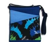 Blue crossbody bag Shoulder blue fabric medium Travel Purse ipad