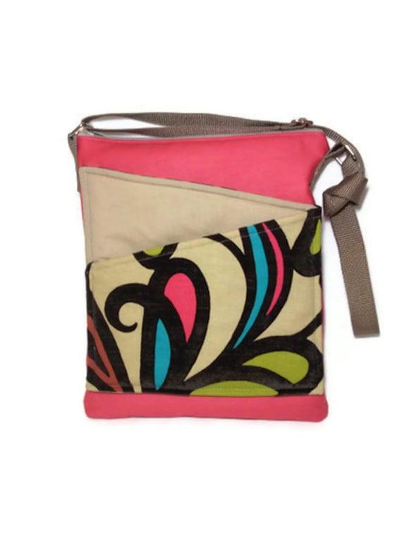 Pink shoulder purse Long Strap Zippered Crossbody Bag shoulder sling