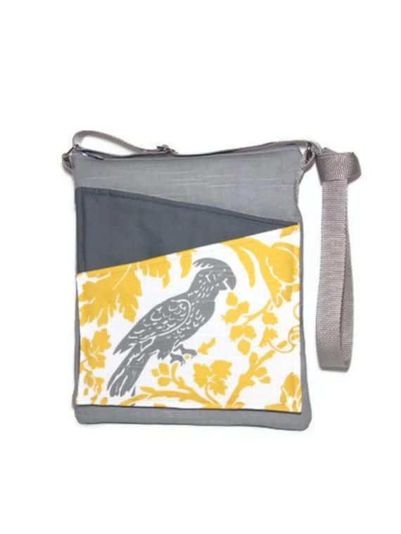 Parrot cross body bag iPad, handbag brown fabric, long strap lined handbag zip fastening