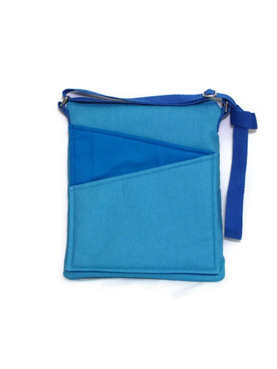 SALE Blue crossbody bag handbag ipad, blue, gray fabric, long strap lined handbag zip fastening