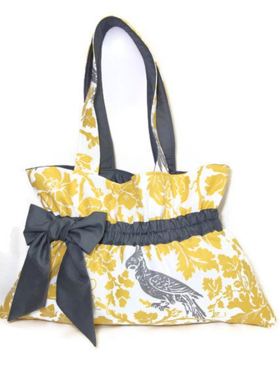 Yellow Parrot shoulder bag messenger tote brown green fabric magnetic Button bow Large Mothers Day